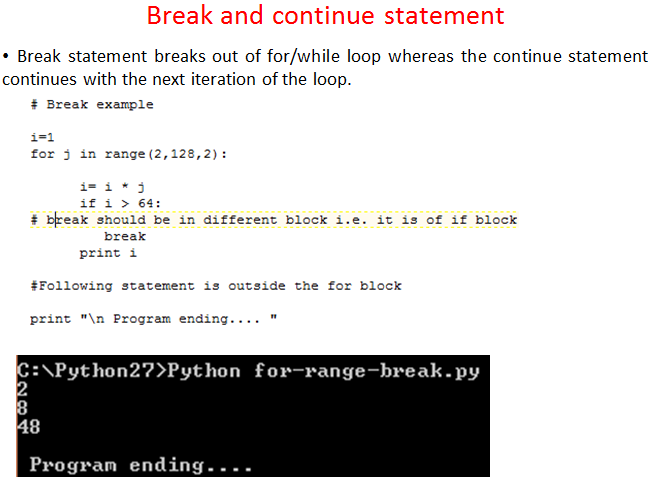 Lessons on Python with Example, Break, Continue, Pass   Lessons2all
