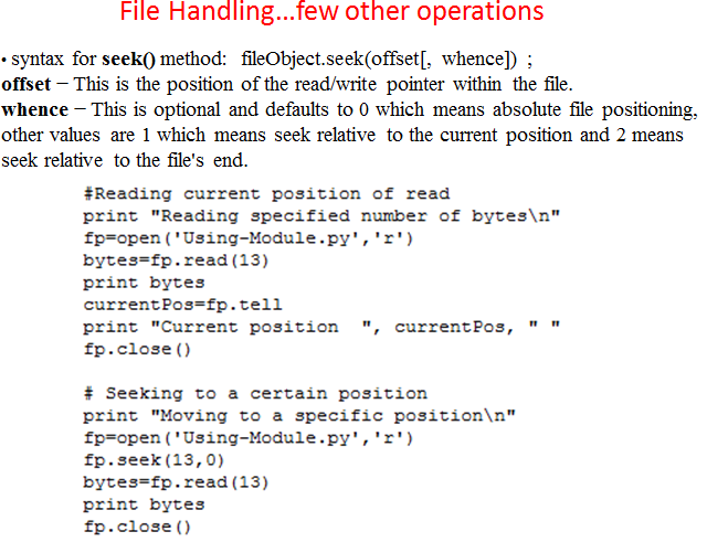 Lessons on Python with Example, Python File handling